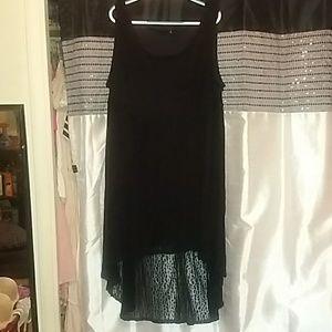 Black hi-lo  leopard print dress
